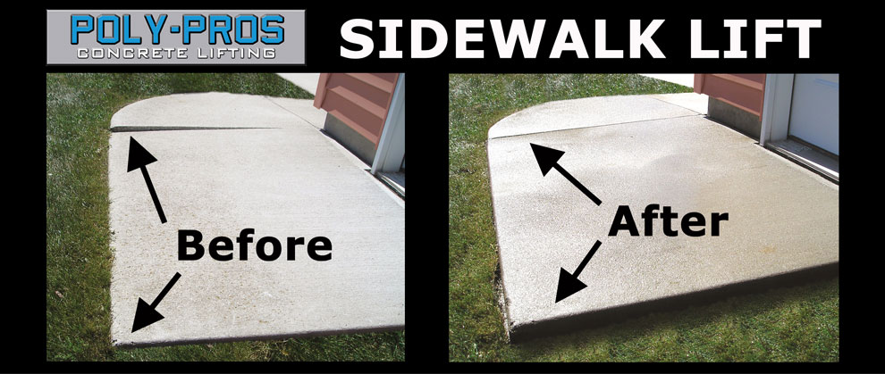 Lifting a Concrete Sidewalk with Polyurethane Before and After